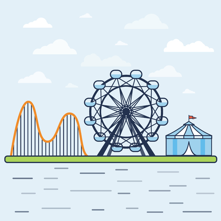 Fair. Amusement park with a Ferris wheel, a roller coaster and a circus tent. Vector illustration.