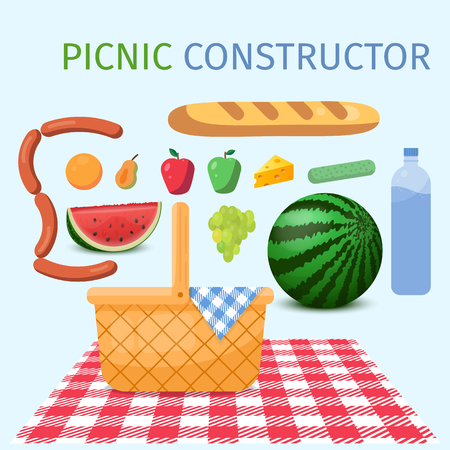 Picnic constuctor. Basket for a picnic with fruit and various food. Vector illustration.