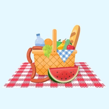 Mand voor een picknick met fruit en verschillende etenswaren. Vector illustratie.
