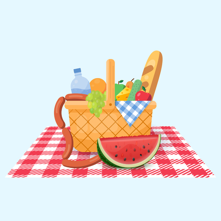 Basket for a picnic with fruit and various food. Vector illustration.