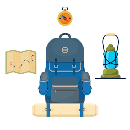Set of camp and tourist accessories (Backpack, compass, lamp, map). Vector illustration.