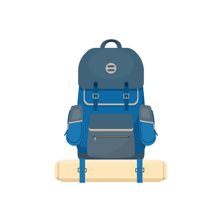 Camping, tourist backpack . Vector illustration.