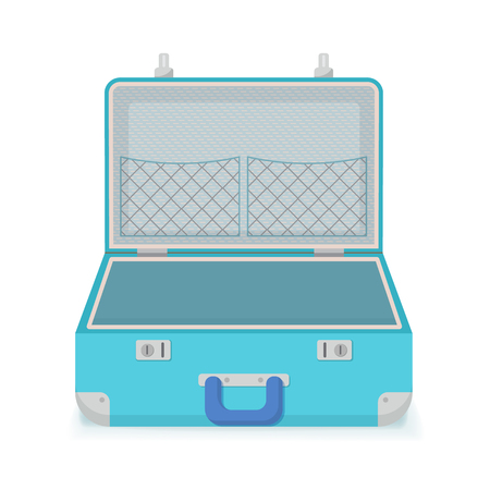 Open retro vintage suitcase for travel. Vector illustration, Isolated on white background. Vectores