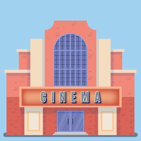 Movie theater building with a sign board on a blue background. Vector illustration.