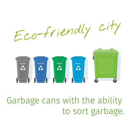 Garbage containers with the ability to sort garbage. Recycling garbage cans. Vector illustration. Illustration