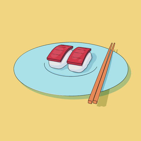 Sushi lying on a plate executed in animation style. Asian food. Vector illustration.