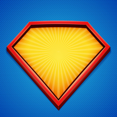 Superhero background. Superhero template. Red, yellow frame with divergent rays on blue backdrop. Vector illustration