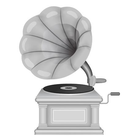 Old retro gramophone. Phonograph  on a white background. Music, nostalgia symbol. Vintage vector illustration.