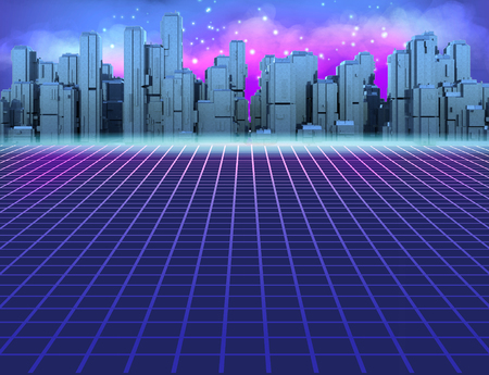 80s Retro Sci-Fi Background with Futuristic City. Synth retro wave illustration in 1980s posters style. Suitable for any design in 80s style. 3D illustration. 版權商用圖片