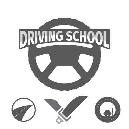Set of vector graphic elements on the subject Driving school. Vector illustration. Drivers education emblem.