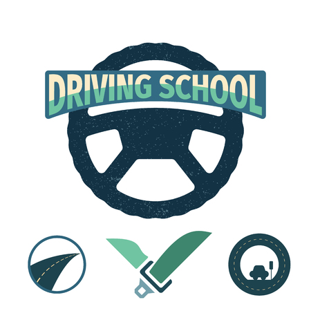 Set of vector graphic elements on the subject Driving school. Vector illustration.  Drivers education emblem. 向量圖像