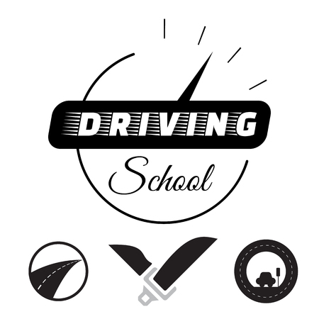 Set of vector graphic elements on the subject. Driving school illustration, drivers education emblem.