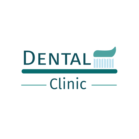 Emblem of dental clinic. Simple design on stomatology. Vector illustration.