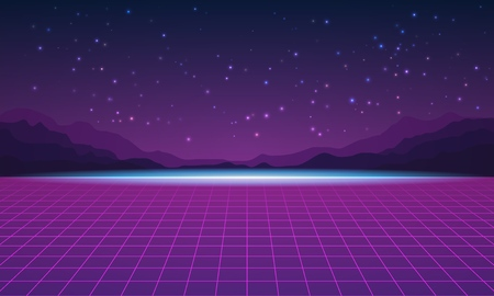 Background in style arcades the 80s. Music poster template. Vector illustration.