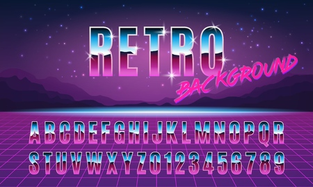 Background and font in style arcades the 80s. Music poster template. Vector illustration. 向量圖像