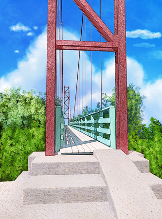 Suspension bridge.  Painted background in anime style. Template for the cover. Digital illustration.
