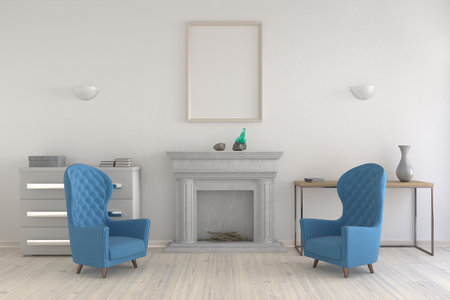 Mock up poster in an interior with a fireplace and chairs. 3d render. 版權商用圖片