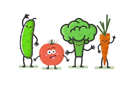 Cartoon vegetables. Smiling cute characters: cucumber, tomato, broccoli and carrots  isolated on white background. Funny food concept. Vector illustration.
