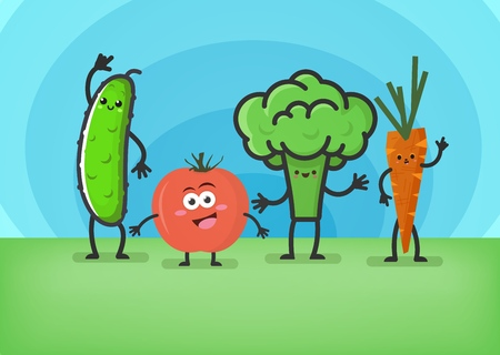 Cartoon vegetables. Smiling cute characters: cucumber, tomato, broccoli and carrots. Funny food concept. Vector illustration. 向量圖像