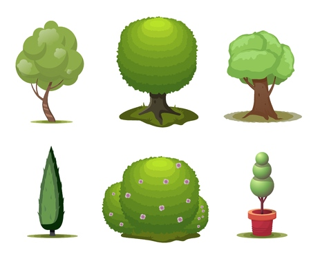 Set of trees. Cartoon trees isolated on a white background. Vector illustration.