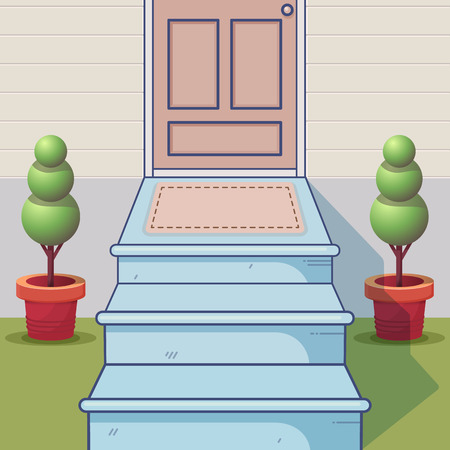 Concept of the cartoon porch. Exterior entrance scene. Vector illustration. 向量圖像