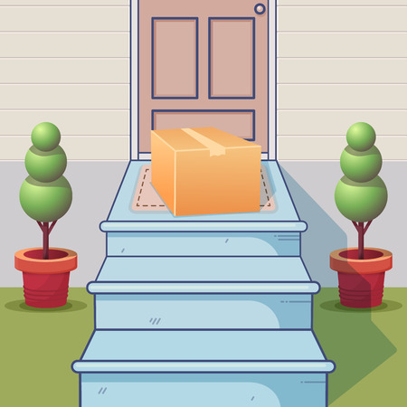 Colorful concept of delivery service. Cartoon porch and delivered parcel. Vector illustration.