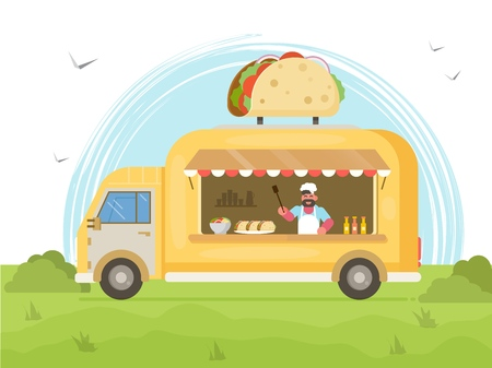 Taco Food Truck. Street Food Truck Concept . Vector flat illustration
