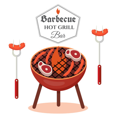 Barbecue design concept. BBQ grill template. Vector illustration. 向量圖像