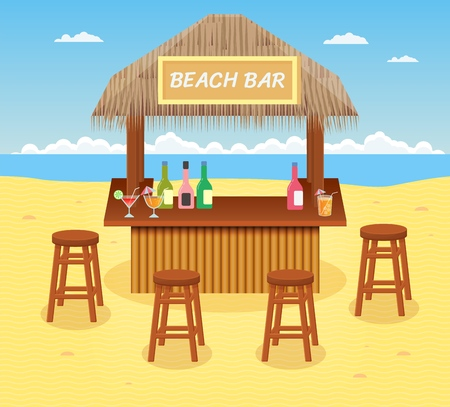Beach bar with cocktails and drinks. Concept of summer vacation. Cartoon style. Vector illustration.