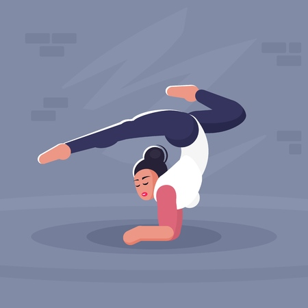 Yoga Girl. Stand on the elbows. Vector illustration.