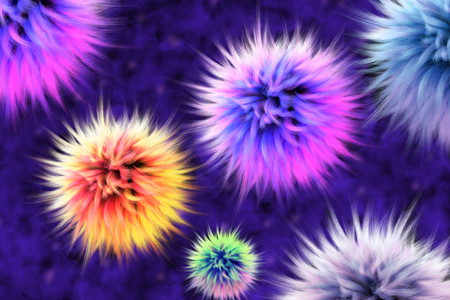 Colorful abstract background consisting of fur lumps. 3D render. 版權商用圖片