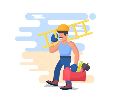 Cheerful builder, worker. Design concept on the topic of construction and repair. Vector illustration.