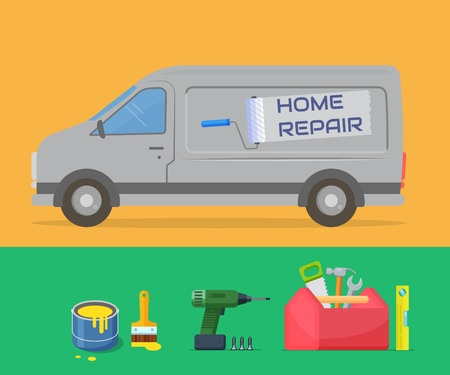 Home repair. Design template for the repair service. Van and tools. Vector illustration.