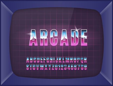 Retro arcade game machine. Screen background and font. Vector illustration. 向量圖像