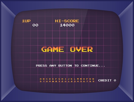 Retro arcade game machine. Screen background and font. Vector illustration. Stock Illustratie