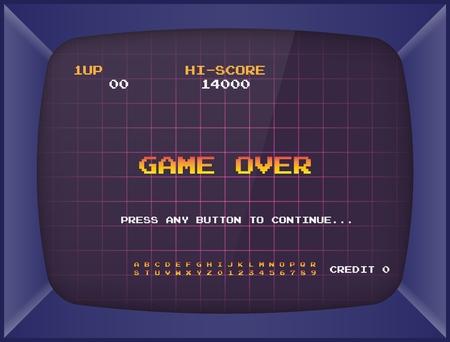 Machine de jeu d'arcade rétro. Fond d'écran et police. Illustration vectorielle. Vecteurs