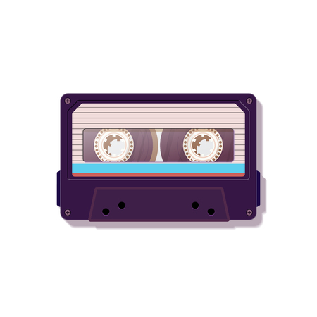 Vintage audio cassette. Nostalgia of the 80s 90s. Vector illustration.
