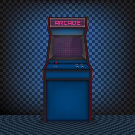 Retro arcade game machine. Vector illustration.
