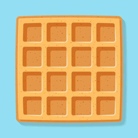 Square  waffle. Soft Belgian waffles. Realistic style. Dessert template. Vector illustration. Ilustração