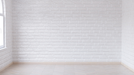 Empty room in light tones with wooden parquet floor and brick walls painted white gloss paint. 3d render.