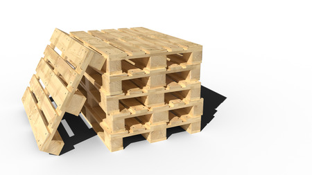 Wooden pallets perspective view. 3D realistic render.