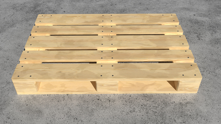 Wooden pallet perspective view. 3D realistic render.