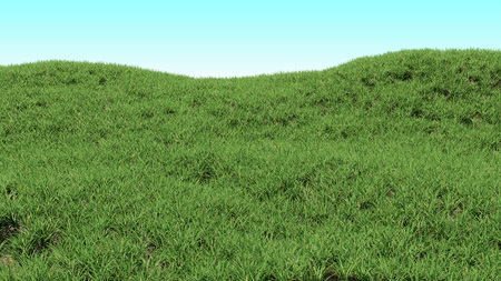 Green grass background. Hilly landscape covered with grass. Photorealistic 3d render.