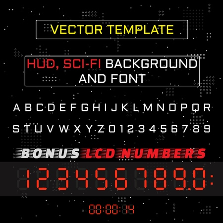 Abstract background, font and LCD numbers for Heads-Up Display - HUD. Sci Fi Futuristic User Interface. Vector Illustration.