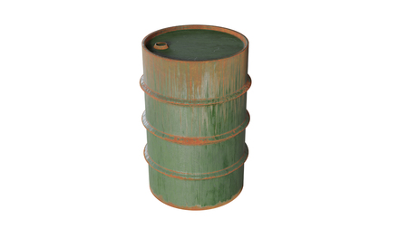 Oil Drum old and rusty.  Metal tank, the container  isolated on white background. 3d render.