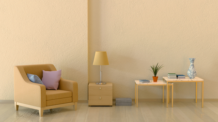 Interior in warm colors with a chair and relief walls. 3d rendering.