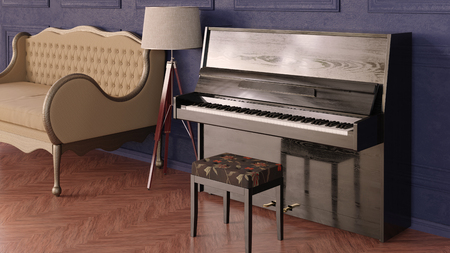 Interior in classic style. Room with sofa, tripod lamp and piano. 3d render.