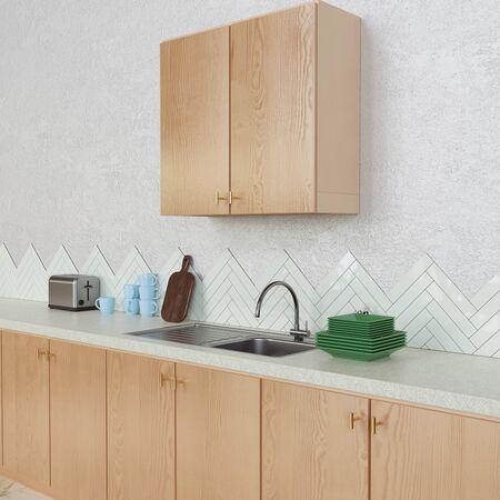 Interior kitchen design with wooden materials. 3d render.