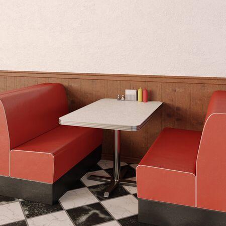 Retro cafe interior. 1950s American style diner. Imagens