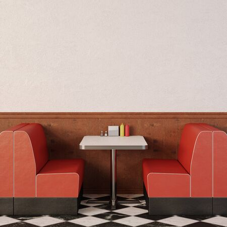 Retro cafe interior. 1950s American style diner.
